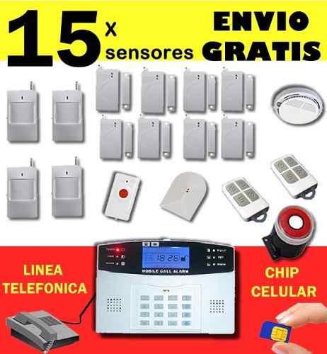 Alarma Con 15 Sensores Alertas A Celular Y Linea Telefonica