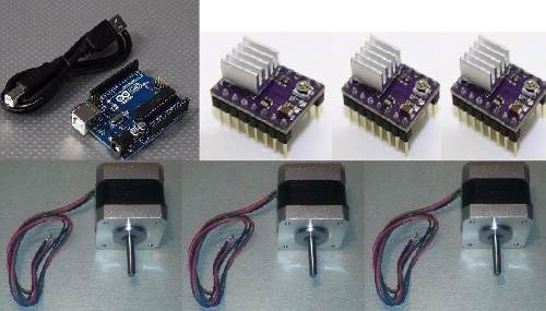 Kit Mini Cnc Con Drives Drv8825 3 Nema 17 Y Arduino Uno Grbl