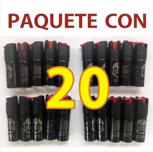 Paquete De 20 Mini Gas Pimienta Lacrimogeno Defensa Personal