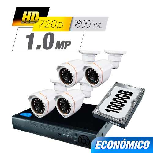 Kit Cctv 4 Cámaras Ahd 1.0 Mp