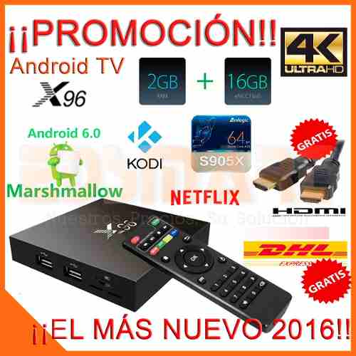 Android Tv X96 Marshmallow 6.0 16gb 2gb 4k S905x H.265 2017 en Web Electro