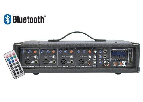Mezcladora Amplificada 4ch 800w Usb Sd Bluetooth Display en Web Electro