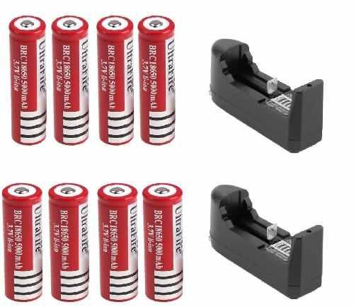 8 Baterias Brc 18650 Recargables + 2 Cargadores en Web Electro