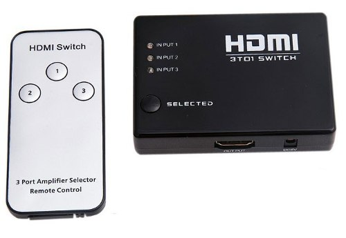 Switch Hdmi 3 Puertos Full Hd Incluye Control Remoto